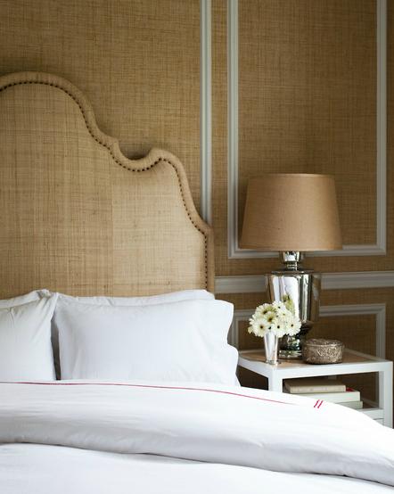 Burlap Headboard, Transitional, bedroom, Thom Filicia