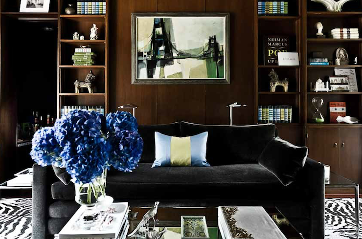 Black Velvet Sofa Transitional Den Library Office