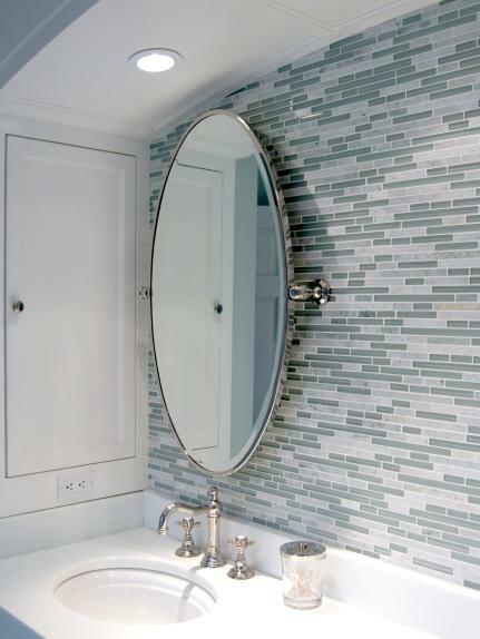 Modern Contemporary Bathroom With Linear Blue Gray Soho Glass Tiles Backsplash And Oval Pivot Mirror