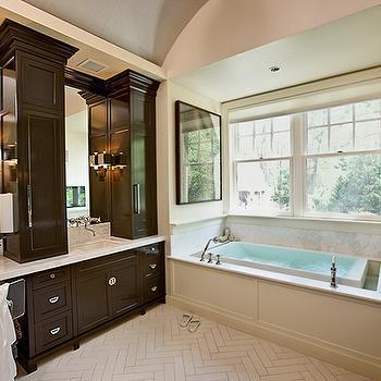 Chocolate Brown Cabinets, Contemporary, bathroom, Doryn Wallach
