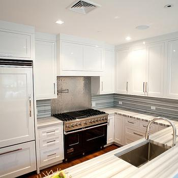 View Full Size. Contemporary Kitchen With White Shaker Kitchen Cabinets, Stone  Countertops ...
