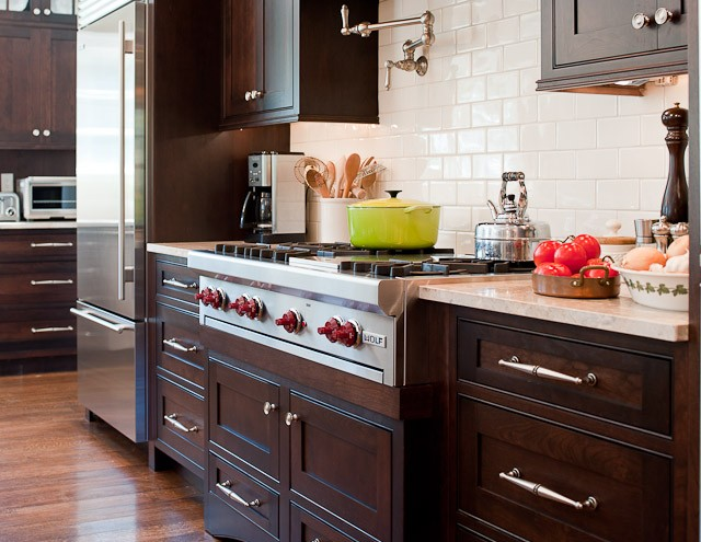 Chocolate brown cabinets traditional kitchen town for Kitchen ideas brown cabinets