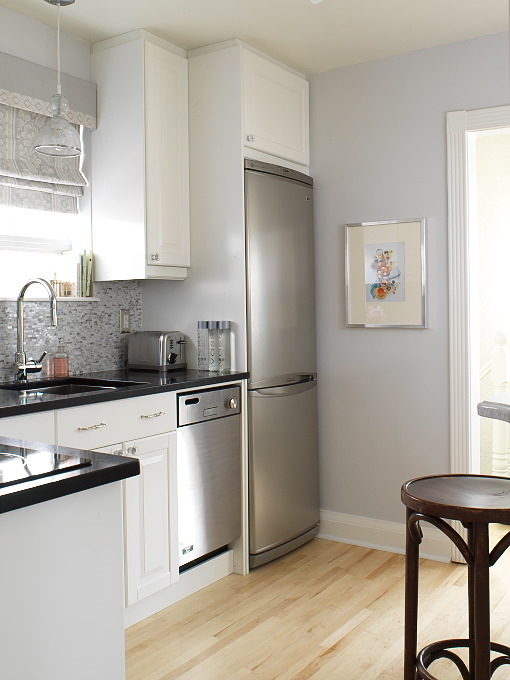 small kitchen with gray blue walls paint color white kitchen cabinets