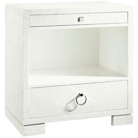 Frances Two Drawer Side Table In White