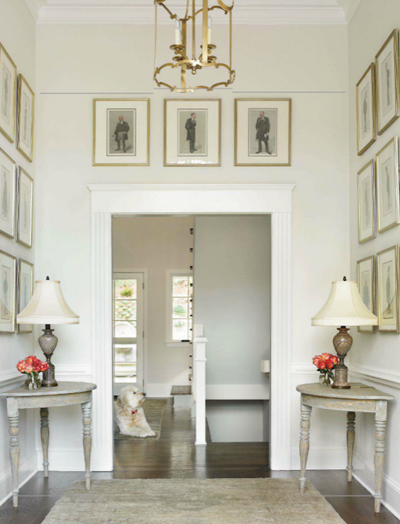 Traditional Home Foyer Decor : Demi lune tables traditional entrance foyer benjamin