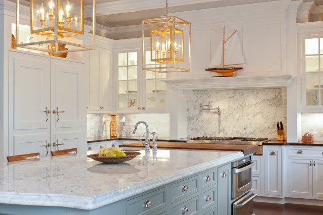White Country Kitchen With Butcher Block gray kitchen island - transitional - kitchen - town & country