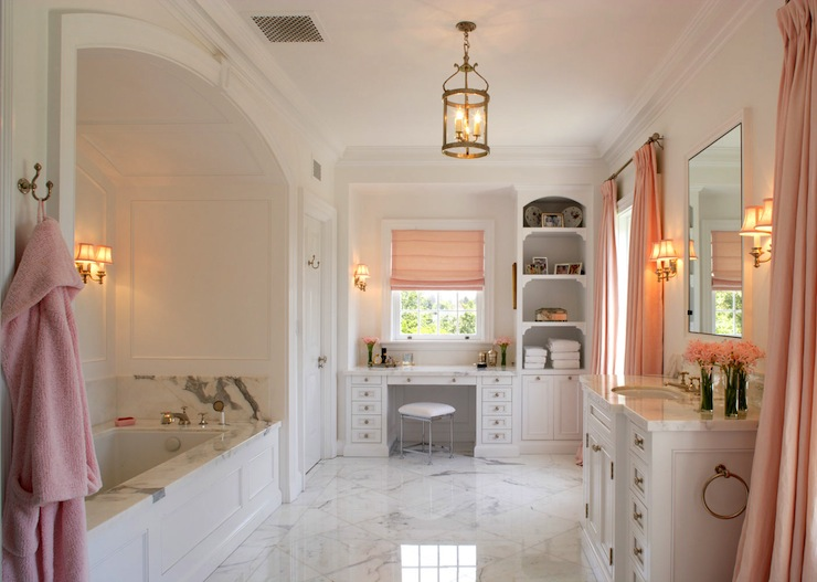 Amazing White And Pink Master Bathroom With Pink Accents   Marble Tiles  Floor, Arched Tub Nook, White Single Bathroom Vanity With Marble Countertop,  ...
