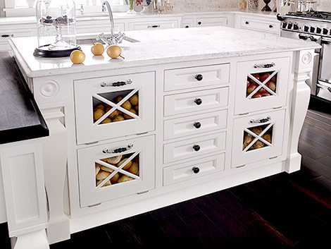Fun Kitchen With Lots Of Storage   White Kitchen Island With Marble  Countertops With Storage Drawers, Small Sink In Kitchen Island And Drop  Down Kitchen ...