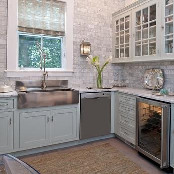 Attirant Gray Green Cabinets