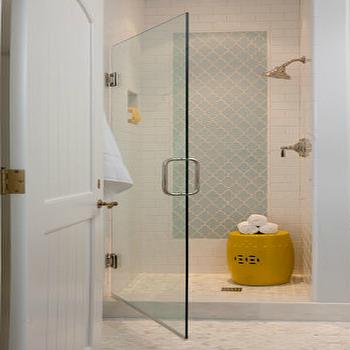 Blue Arabesque  Tile, Contemporary, bathroom, Grant K. Gibson