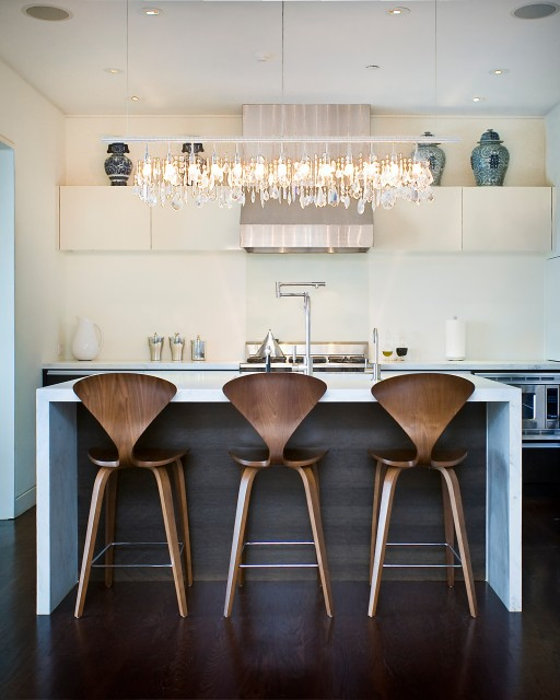 Linear Strand Crystal Chandelier Contemporary Kitchen