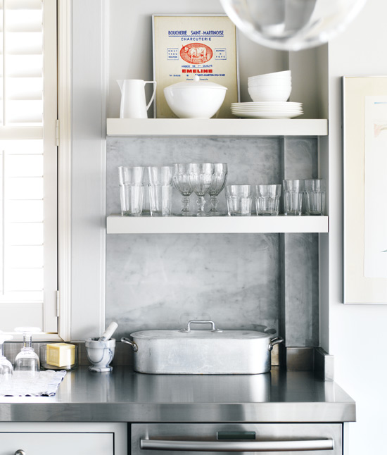 White Kitchen Shelf: Kitchen With Stacked Floating Shelves