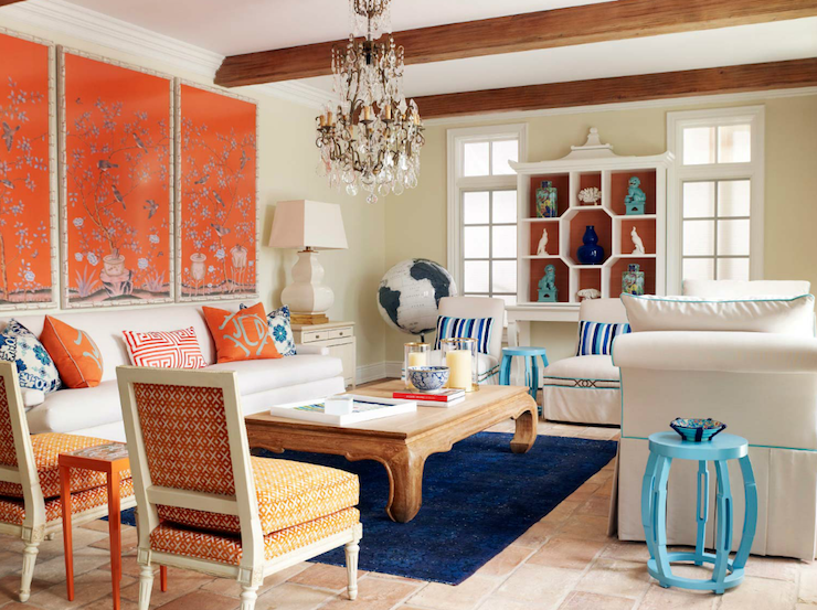 Blue foo dogs eclectic living room laura moss - Black and orange living room ideas ...