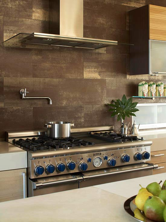 Brown tile backsplash contemporary kitchen bhg Kitchen backsplash ideas bhg