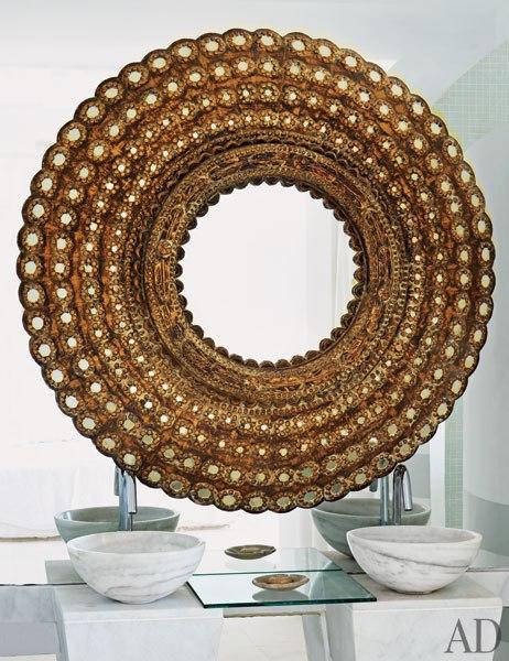 Peacock Mirror Contemporary Bathroom Architectural