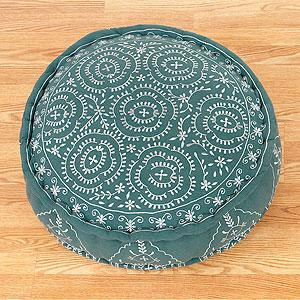 Porcelain & Jade Round Embroidered Floor Cushion - Pillows and ...