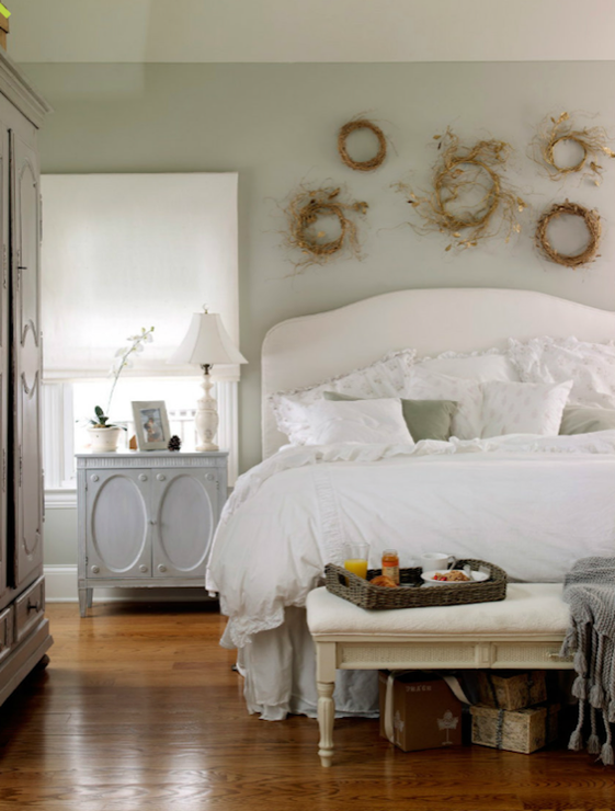 Gray Nightstand Cottage bedroom Laura Moss graphy