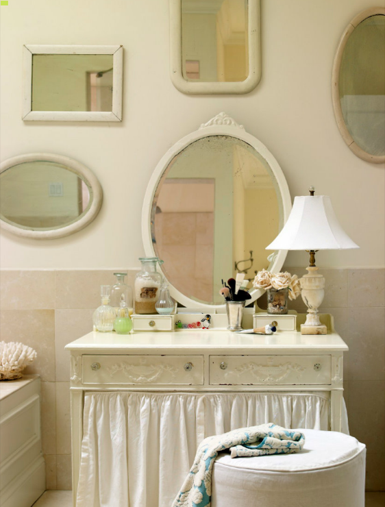Shabby Chic Bathroom With Skirted Vintage Vanity, White Mirrors, Teal Blue  U0026 White Damask Towels And Alabaster Lamp.