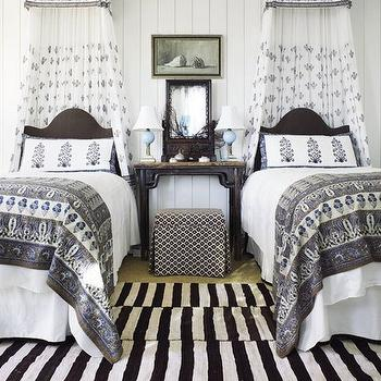 Canopy Beds for Twin Girls, Cottage, girl's room, Architectural Digest