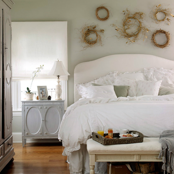 Shabby chic bedroom with gray walls paint color twig nests white