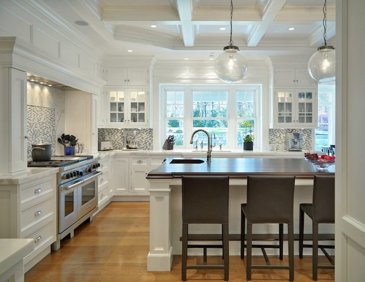 Amazing Kitchen With Coffered Ceiling White Kitchen Cabinets With