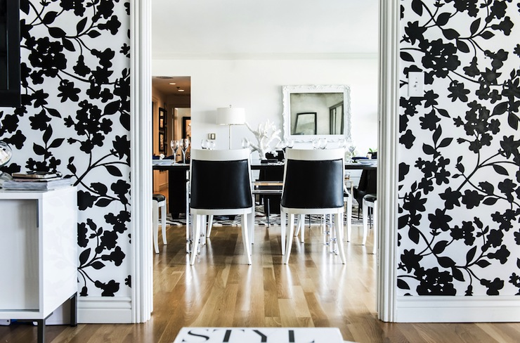 White And Black Dining Room Eclectic Dining Room Janet Rice - Wallpaper for walls black and white