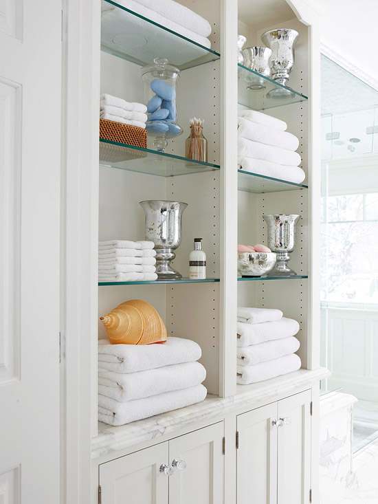 Built In Bathroom Shelves Design Ideas
