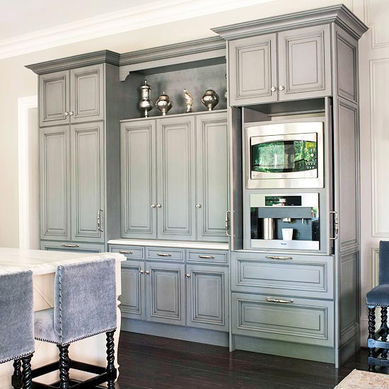 Stools Upholstered In Gray Velvet Fabric And Gray Kitchen Cabinets