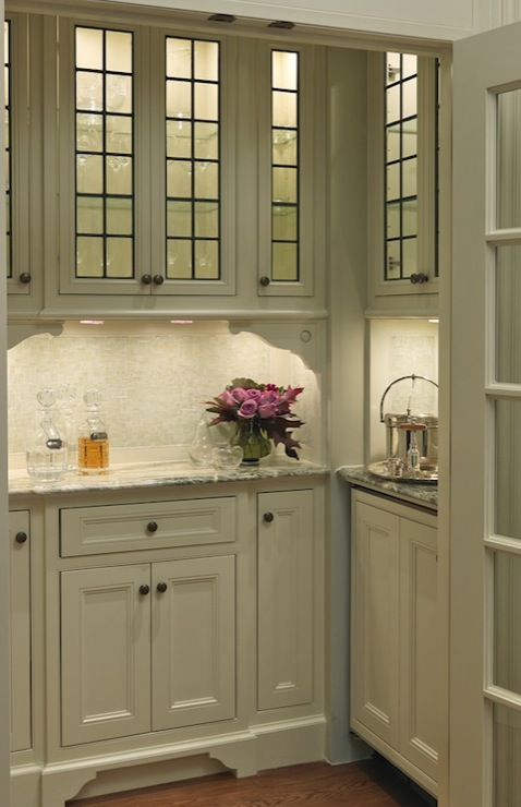Glass Front Butlers Pantry Cabinets Design Ideas