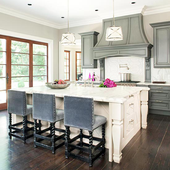 Gray Upholstered Kitchen Counter Stools Design Ideas