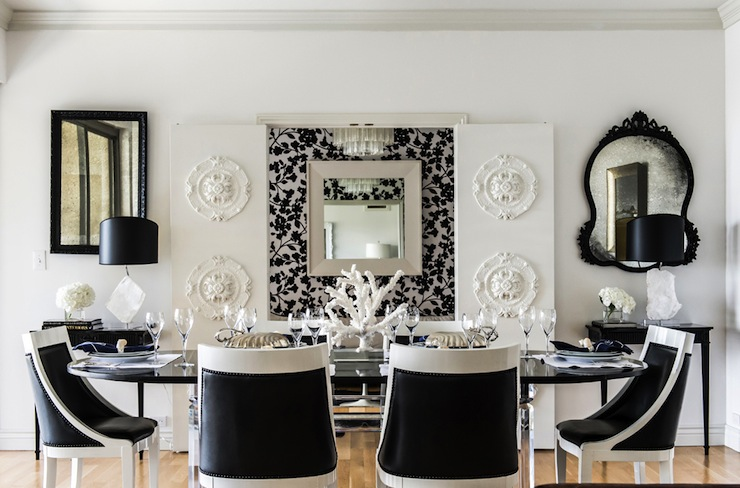 Black and white dining room eclectic dining room janet rice interiors - Black and silver dining room set designs ...