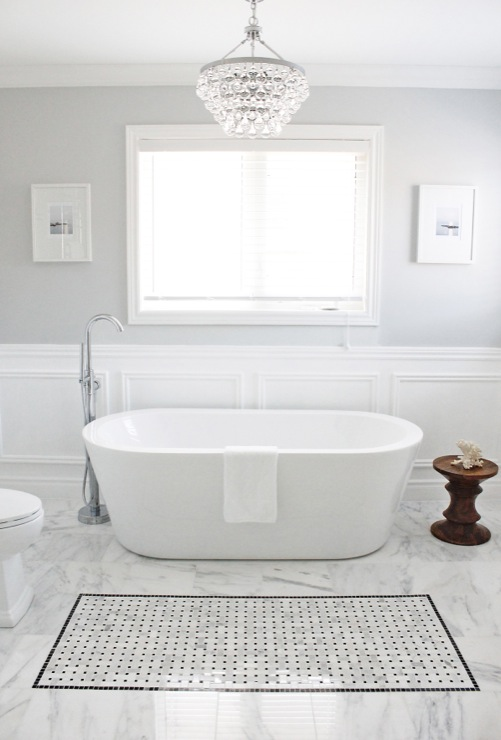 Master Bathroom AM Dolce Vita Bathroom Moulding Bathroom Wainscoting Bianco  Carrara 12x12 Floor Tile Bianco Carrara Basketweave Insert Eames Walnut  Stool ...