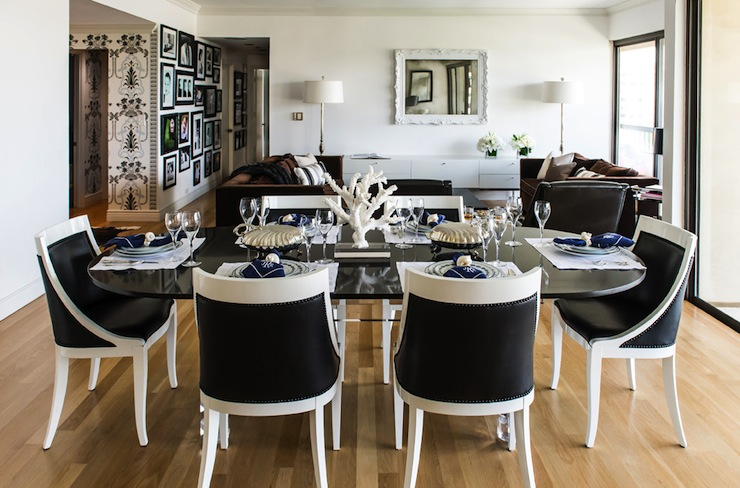 Black And White Chairs Eclectic Dining Room Janet