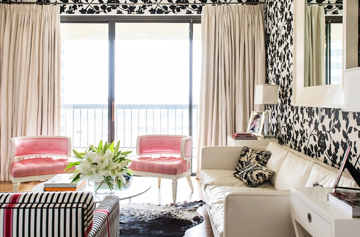Black And White And Pink Living Room black and white living room - eclectic - living room - janet rice