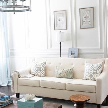 Ivory Tufted Sofa, Contemporary Living Room, Benjamin Moore Custom Antique White, AM Dolce Vita
