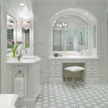 Bathroom With Makeup Vanity white vanity with gray top design ideas