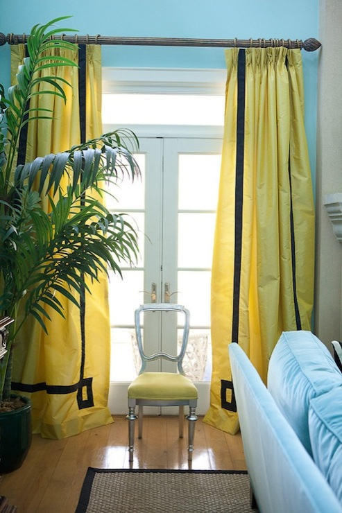 Turquoise Blue U0026 Yellow Living Room With Turquoise Blue Walls Paint Color,  Yellow Silk Window Panels With Black Velvet Fretwork Pattern Trim Curtains  ... Part 78