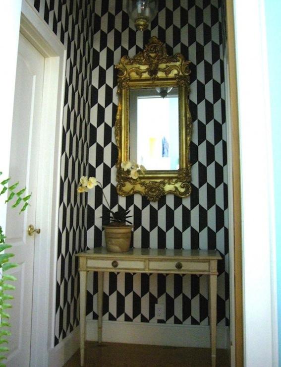 Vintage Foyer Wallpaper : Geometric wallpaper eclectic entrance foyer