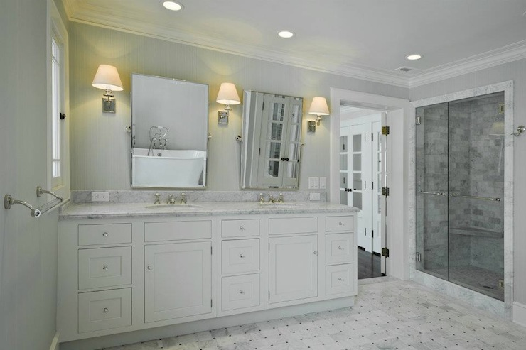Light Gray Grasscloth - Traditional - bathroom - Cameo Homes