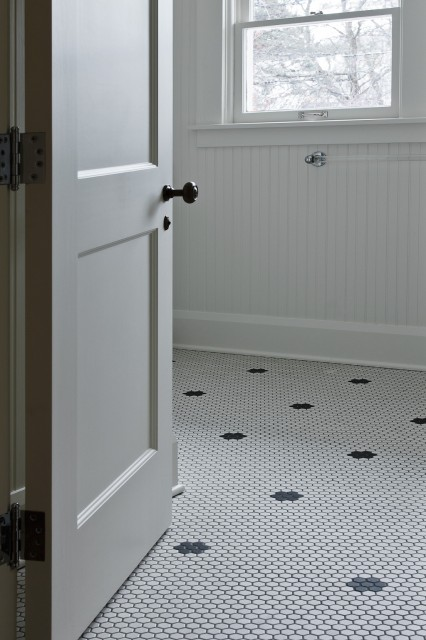 White Hexagon Floor Tile floor tiles ideal garage floor tiles floor tile designs in white hexagon floor tile Vintage Bathroom With White Vintage Hex Tiles With Black Vintage Hex Inset Tiles Beadboard Walls And Acrylic Towel Rack