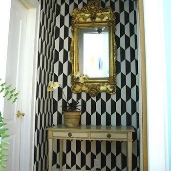 Geometric Wallpaper Eclectic Entrance Foyer