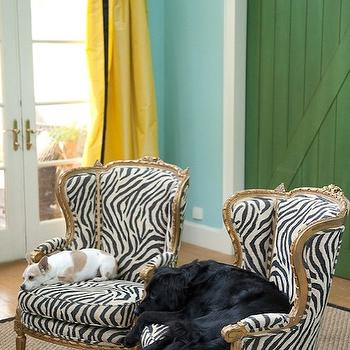 Zebra Chairs, Eclectic, living room, Benjamin Moore Waterfall, Marmalade Interiors