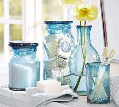 Recycled glass bath accessories pottery barn for Green glass bathroom accessories