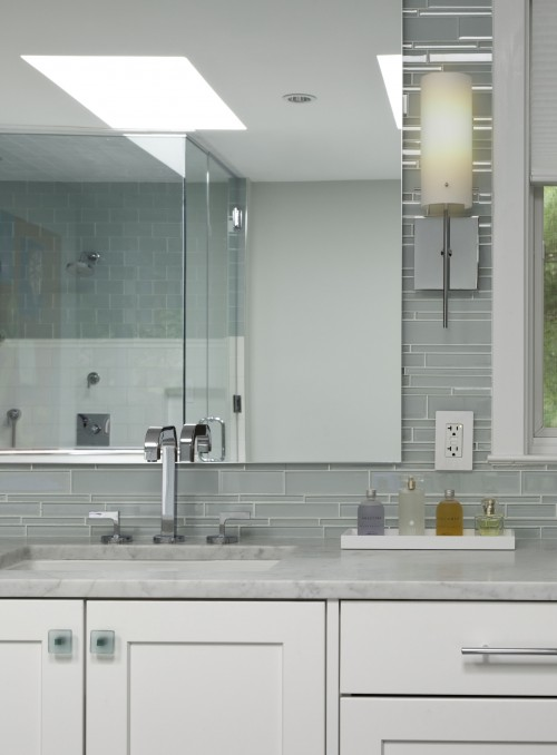 contemporary design with gray walls gray glass tiles backsplash white bathroom vanity with marble countertops - Glass Tile Backsplash In Bathroom