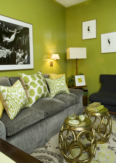 fantastic green gray living room design with chartreuse walls paint