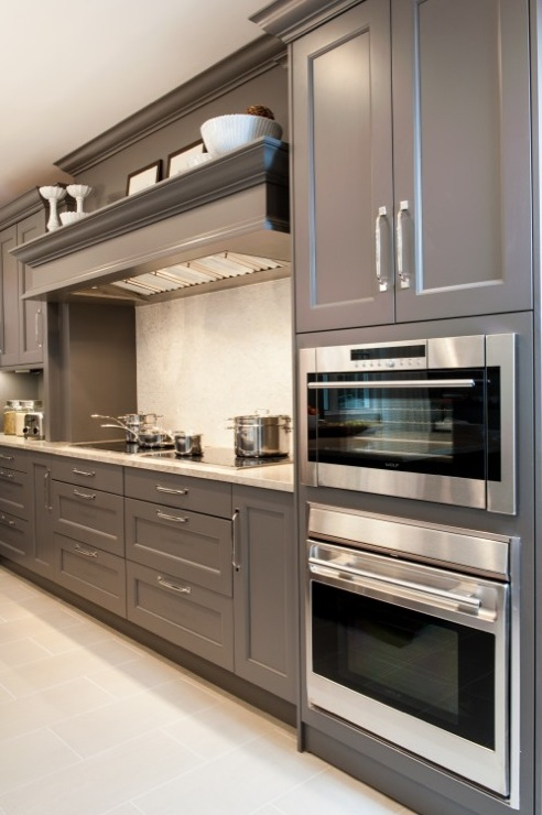gray kitchen design with kitchen cabinets painted gray and granite