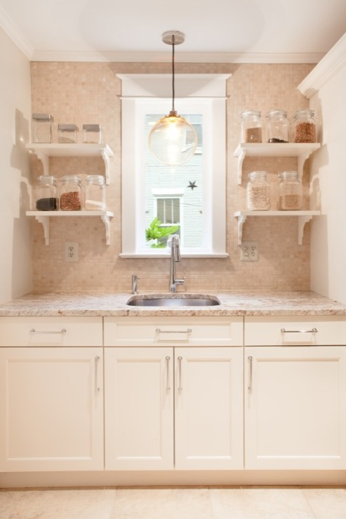 Sweet Kitchen Design With Clear Glass Globe Pendant Over Sink, White Shaker  Kitchen Cabinets With Granite Countertops, White Shelves Flanking Sink And  ...