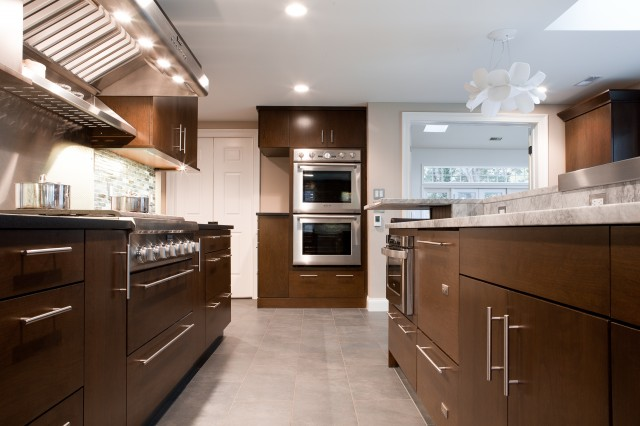 Contemporary kitchen design with chocolate brown kitchen cabinets