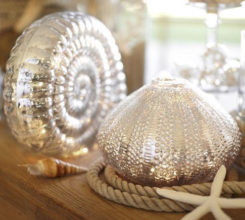 Lit Mercury Glass Shells Pottery Barn