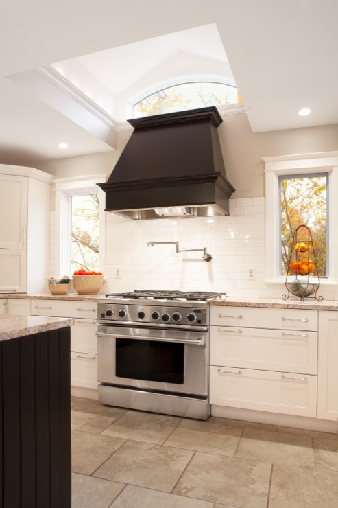 Black Chimney Style Range Hoods ~ Black kitchen hood transitional aidan design